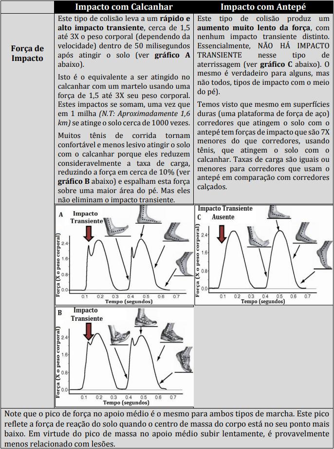 Diferenças biomecânicas entre os modos de atingir o solo. Cinética da corrida e forças de impacto.