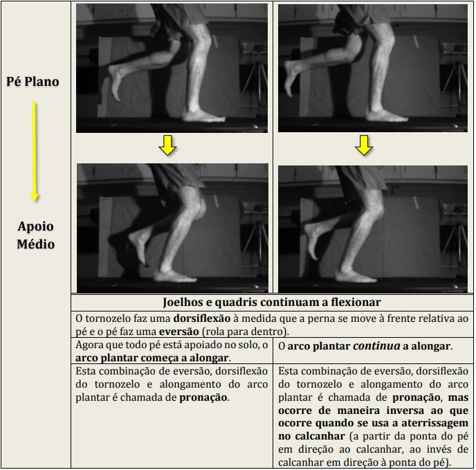 Diferenças biomecânicas entre os modos de atingir o solo. Cinemática da corrida: pé plano - apoio médio.