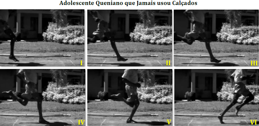 sequência da corrida - descalço - aterrisagem com antepé - queniano que nunca usou calçados.