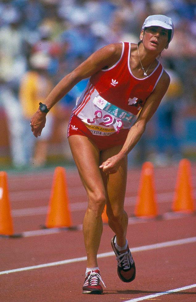 Chegada da maratonista suíça Gabriela Andersen - Los Angeles 1984.