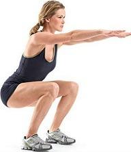 Circuito de pernas - agachamento com o peso corporal.