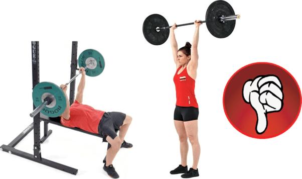 Exercícios de Empurrar Machucam o Ombro: Supino e desenvolvimento com barra.