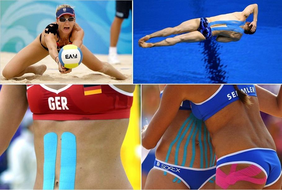 Atletas olímpicos com kinesio tape.