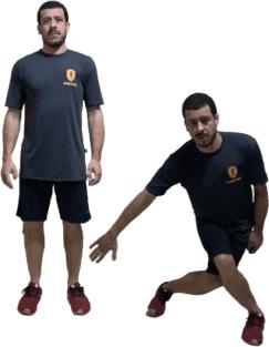 Lunge lateral para a esquerda com o pé direito (lunge cruzado) – balanço lateral para direita da mão direita (na altura do joelho).