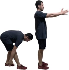 Lunge posterior com o pé esquerdo – balanço posterior da mão direita (na altura do tornozelo).