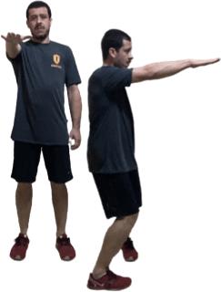 Lunge rotacional para a esquerda com o pé direito – balanço rotacional para esquerda da mão direita (na altura do ombro).