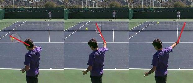 Backhand tenista destro - bola alta.